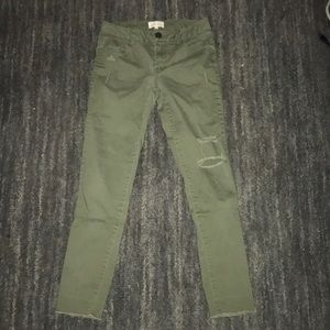 Army green skinny jeans